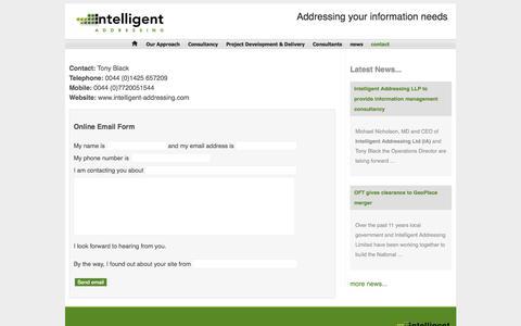 Screenshot of Contact Page intelligent-addressing.co.uk - Intelligent-Addressing UK - Contact Details - captured Oct. 6, 2014