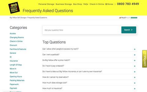 Screenshot of FAQ Page bigyellow.co.uk - FAQs | Self Storage Questions | Big Yellow - captured Nov. 14, 2019