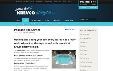Screenshot of Services Page krevco.com - Pool & Hot Tub Service Winnipeg | 1-888-550-9952 | Krevco - captured Oct. 6, 2014