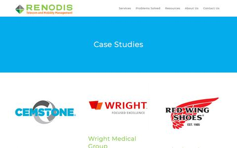 Screenshot of Case Studies Page renodis.com - Case Studies - Renodis - captured Dec. 6, 2019