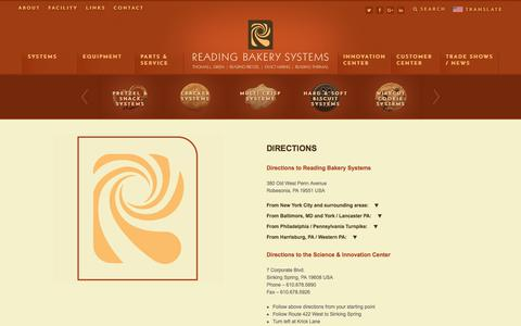 Screenshot of Maps & Directions Page readingbakery.com - Directions, Bakery Equipment and Bakery Systems - captured Nov. 2, 2017