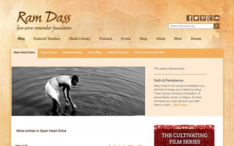 Screenshot of Blog ramdass.org - Open Heart Extra - Ram Dass - captured Oct. 31, 2014