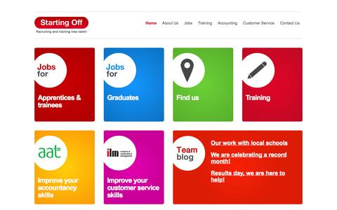 Screenshot of Home Page startingoff.co.uk - Starting Off | Recruiting and training new talent - captured Sept. 26, 2014