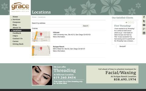 Screenshot of Locations Page gracethreading.com - Locations | Grace Threading - captured Sept. 30, 2014