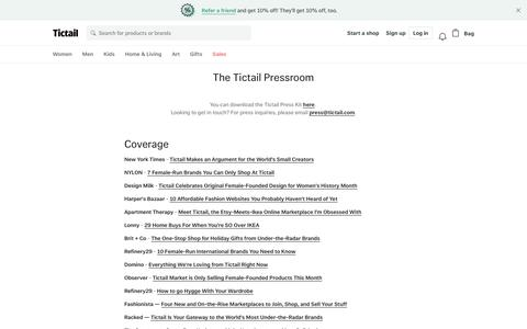 Screenshot of Press Page tictail.com - The Tictail Pressroom • Tictail - captured June 7, 2018