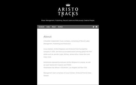 Screenshot of About Page aristotracks.com - — About - captured Oct. 4, 2014