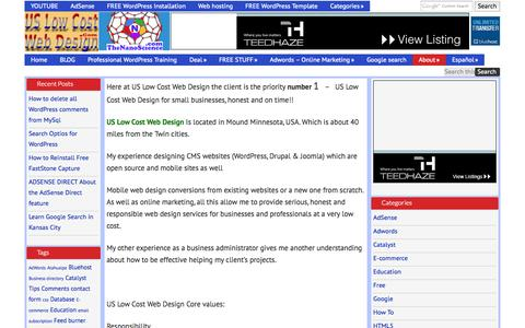 Screenshot of About Page uslowcostwebdesign.com - About Us low cost web design - captured Oct. 26, 2014