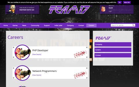 Screenshot of team17.com - Careers - Team17 Digital Limited - captured Oct. 3, 2015