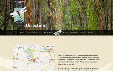 Screenshot of Maps & Directions Page phinizycenter.org - Directions - captured Oct. 9, 2014