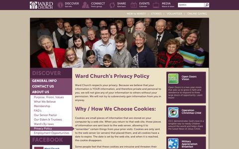 Screenshot of Privacy Page wardchurch.org - Privacy Policy - Ward Church - captured Oct. 27, 2014