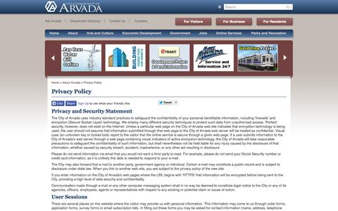Screenshot of Privacy Page arvada.org - Privacy Policy - captured Sept. 24, 2014