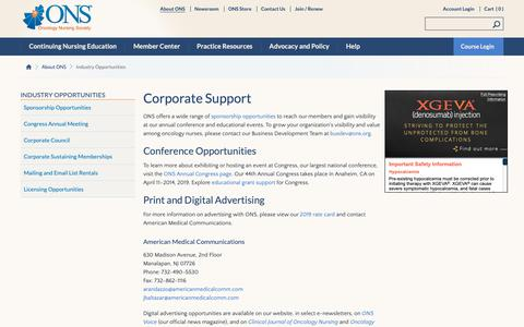 Screenshot of Support Page ons.org - Industry Opportunities | ONS - captured Oct. 4, 2018