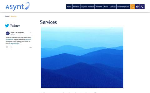 Screenshot of Services Page asynt.com - Other Asynt services   Design   Scientific Glass Blowing   Repairs - captured July 31, 2018