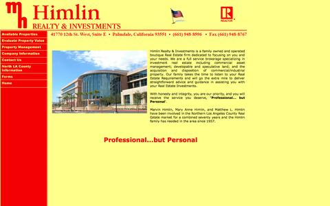 Screenshot of Home Page himlinrealty.com - Himlin Realty & Investments - captured Oct. 2, 2014