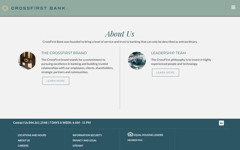 Screenshot of About Page crossfirstbank.com - CrossFirst Bank > About Us - captured July 19, 2019