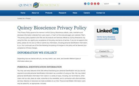 Screenshot of Privacy Page quincybioscience.com - »  Privacy - captured Nov. 4, 2018