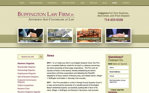 Screenshot of Press Page buffingtonlawfirm.com - News | Buffington Law Firm, PC | Orange County, California - captured Oct. 7, 2018