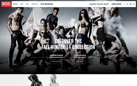 Screenshot of Home Page diesel.com - Diesel - jeans, clothing, shoes, watches, apparel, underwear and sunglasses - captured Sept. 18, 2014
