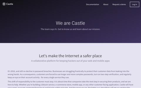 Screenshot of About Page castle.io - Castle — The easiest way to protect your users - captured June 18, 2017