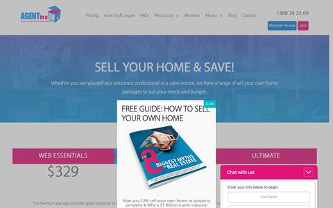 Screenshot of Pricing Page agentinabox.com.au - How much to sell my home myself | Agent in a Box Packages - captured Oct. 3, 2018