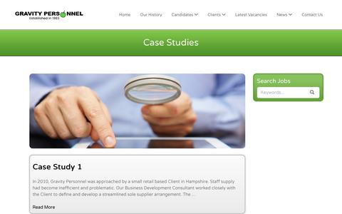 Screenshot of Case Studies Page gravity-personnel.com - Case Studies – Gravity Personnel - captured Nov. 14, 2016