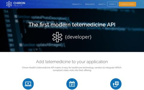 Screenshot of Developers Page chironhealth.com - Telemedicine API | Chiron Health - captured July 13, 2016