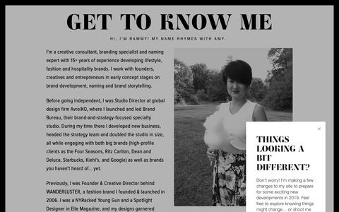 Screenshot of About Page rhymeswithamy.com - GET TO KNOW ME — RHYMES WITH AMY - captured Dec. 6, 2018