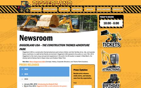 Screenshot of Press Page diggerlandusa.com - Newsroom - Press & Media | Diggerland - captured Aug. 1, 2016