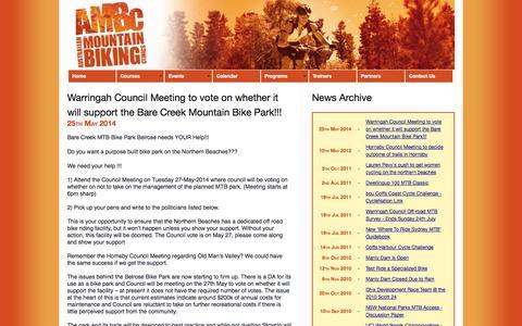 Screenshot of Press Page ambc.com.au - Australian Mountain Biking Clinics - captured Oct. 4, 2014