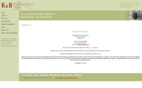 Screenshot of Contact Page reevesbuck.ca - Contact Us - Reeves & Buck LLP - captured Oct. 26, 2014