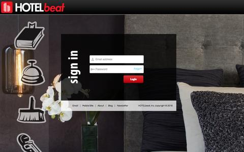 Screenshot of Login Page hotelbeat.com - HOTELbeat - The Pulse of Your Hotel - captured Jan. 5, 2016