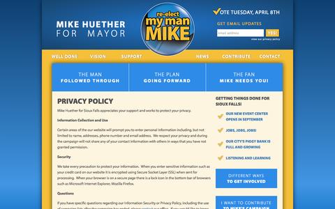 Screenshot of Privacy Page mymanmike.com - Privacy Policy |  Mike Huether - Sioux Falls Mayor - captured Oct. 3, 2014