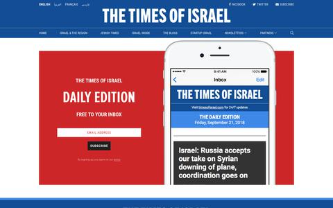 Screenshot of Signup Page timesofisrael.com - Sign up to the Daily Edition newsletter | The Times of Israel - captured Sept. 21, 2018