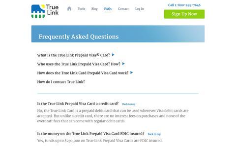 Screenshot of FAQ Page truelinkfinancial.com - FAQs | True Link Card - captured Nov. 2, 2014