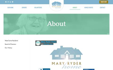 Screenshot of About Page maryryderhome.org - About   Mary Ryder Home - captured Jan. 9, 2016