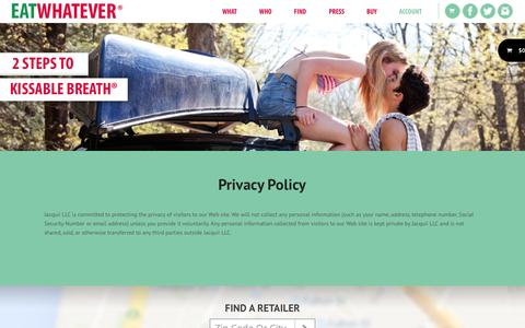 Screenshot of Privacy Page eatwhatever.com - Privacy Policy | EATWHATEVER - captured Oct. 3, 2014