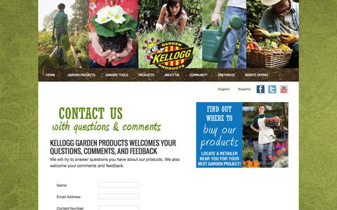 """Screenshot of Contact Page kellogggarden.com - Contact Kellogg Garden Products - Kellogg Garden Products 