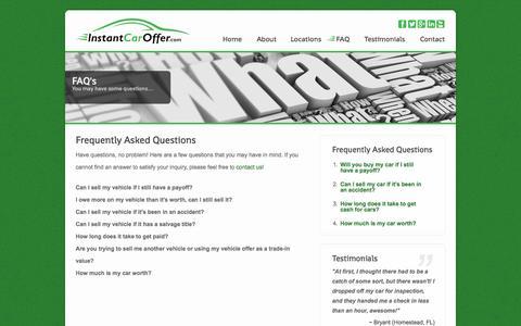 Screenshot of FAQ Page instantcaroffer.com - Instant Car Offer - FAQ - captured Sept. 30, 2014
