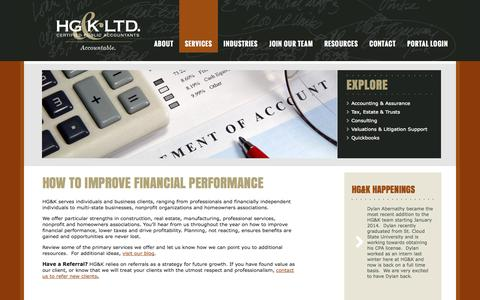 Screenshot of Services Page hgkcpa.com - How to Improve Financial Performance — HG&K Ltd. - captured Oct. 1, 2014