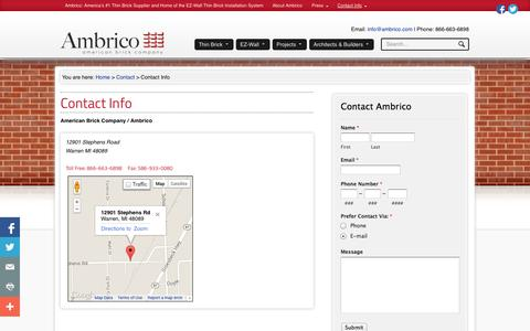Screenshot of Contact Page Maps & Directions Page ambrico.com - Contact Info - - captured Oct. 23, 2014
