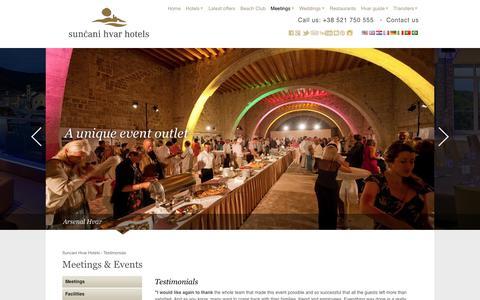Screenshot of Testimonials Page suncanihvar.com - Meetings & Events | Suncani Hvar Hotels - captured June 30, 2017