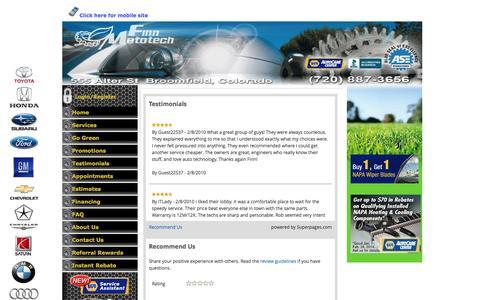 Screenshot of Testimonials Page finnmoto.com - Best Reviewed Mechanics in Broomfield - captured Oct. 6, 2014