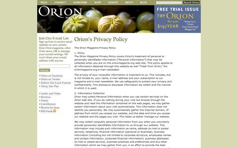 Screenshot of Privacy Page orionmagazine.org - Orion Magazine |   Orion's Privacy Policy - captured Oct. 26, 2014
