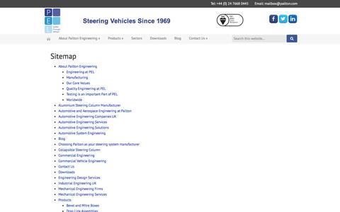 Screenshot of Site Map Page pailton.com - Sitemap - Pailton Engineering Limited - captured Jan. 24, 2016