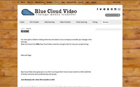 Screenshot of Testimonials Page bluecloudvideo.com - Reviews | Blue Cloud Video - captured Oct. 5, 2014