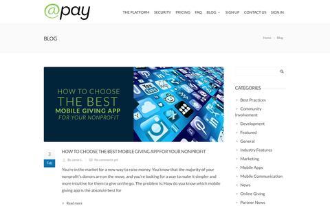 Screenshot of Blog atpay.com - Blog - @Pay | Giving Platform - captured Feb. 21, 2016
