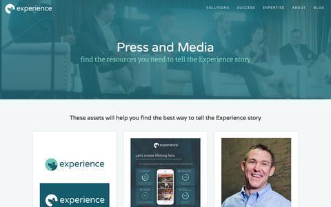 Screenshot of Press Page expapp.com - Press and Media | Experience - captured Dec. 4, 2015