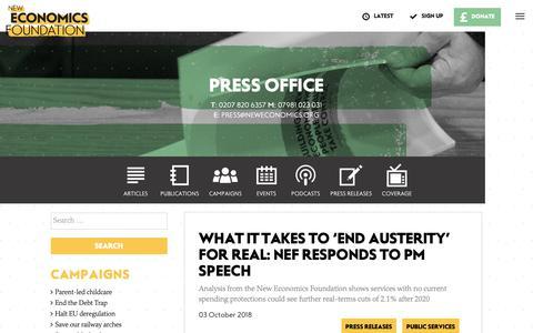 Screenshot of Press Page neweconomics.org - Press office | New Economics Foundation - captured Oct. 17, 2018