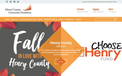 Screenshot of Home Page henrycountycf.org - Henry County Community Foundation | Make a Difference, Henry County - captured Sept. 28, 2018