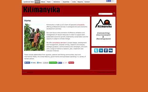 Screenshot of Home Page kilimanyika.com - Kilimanyika - captured Oct. 6, 2014